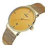 wwoor hommes de bande en maille Ultra Fine en acier inoxydable montres mâle Elite Sport Date poignet montre or