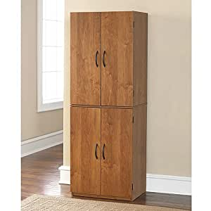 Tall Storage Cabinet With 4 Doors Pantry Cupboard Has Two Adjustable Shelves And One