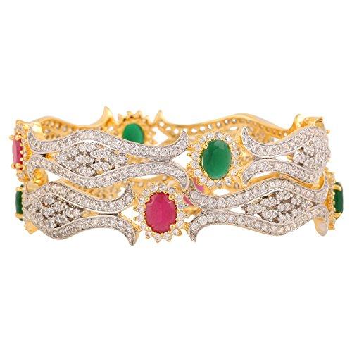 swasti-jewels-american-diamond-cz-colourful-stone-fashion-jewelry-bangle-set-2-pieces-24-inches-for-