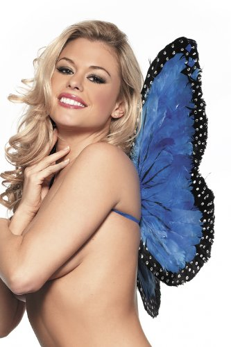 Costume Adventure Women's Blue Feather Butterfly Wings
