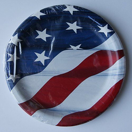 Party Holiday Luncheon Plates - American Flag - Pack of 10