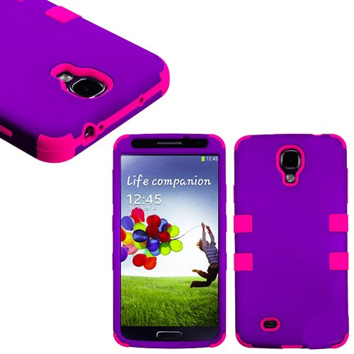 "Mylife (Tm) Purple And Hot Pink - Smooth Color Design (3 Piece Hybrid) Hard And Soft Case For The Samsung Galaxy S4 ""Fits Models: I9500, I9505, Sph-L720, Galaxy S Iv, Sgh-I337, Sch-I545, Sgh-M919, Sch-R970 And Galaxy S4 Lte-A Touch Phone"" (Fitted Front An"