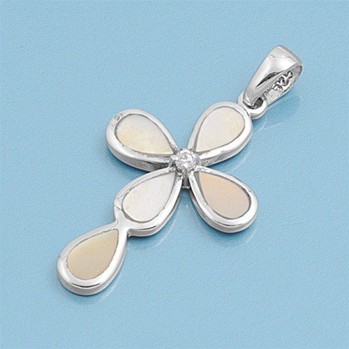 Sterling Silver Mother Of Pearl Cross Pendant Fashion Charm Pure 925 New 26Mm (Pendant Only) Valentines Day Gift