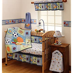 Bedtime Originals Super Sports 4-Piece Baby Crib Bedding Set - Blue