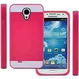 TPU Silikon Strass Glitzer Hülle Hüllen Schutzhülle Tasche Etui Protection Case Protective Cover für Samsung Galaxy S4 IV I9500 I9505 Rosa Rot+Weiß