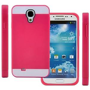 TPU Strass Glitzer Silikon Hülle Hüllen Schutzhülle Tasche Etui Protection Case Protective Cover für Samsung Galaxy S4 Mini i9190 i9192 i9195 Rosa Pink+Weiß