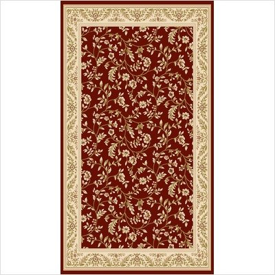 """World Rug Gallery 7861RED Elite Floral Red Oriental Rug Size: 5'3"""" x 7'4"""""""