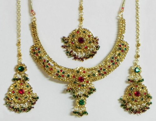 Faux Amber, Emerald And Ruby Necklace Set With Mang Tika - Stone And Metal