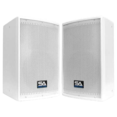 "Seismic Audio - Pair of 10"" White Church PA/DJ Speakers - White Textured Painted - Monitors"