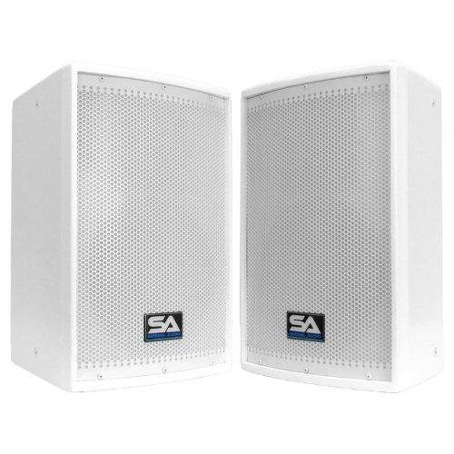 "Seismic Audio - Pair Of 10"" White Church Pa/Dj Speakers - White Textured Painted - Monitors"