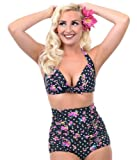 Cocoship Flora Print Vintage High Waisted Bikini Sets Swimsuits