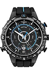 Timex® Men's T49859 Intelligent Quartz Compass Tide Temperature Silver Case Black Strap Watch
