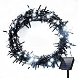 Solar String Lights, Cymas 200 LED Outdoor String Lights Fairy Twinkle Lights for Christmas, Patio, Party [Cool White, 72ft]