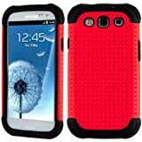 SOOPER Red Mesh Defender Heavy Duty Protective Hard Full Body Cover Case for Samsung Galaxy i9300 S3  (Red Mesh Case)