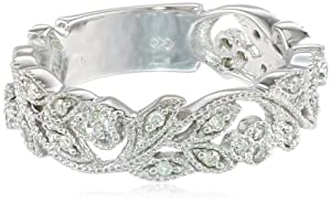 10k White Gold White Diamond Ring (.25 cttw, H-I Color, I1-I2 Clarity) by Amazon Curated Collection