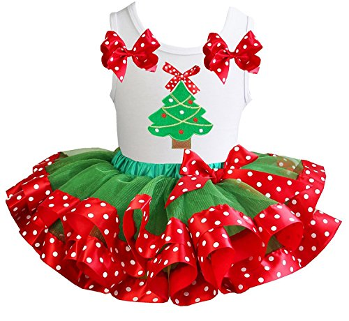 Kirei Sui Girls Green Red Polka Dots Satin Tutu Xmas Tree Tank Top Party Dress