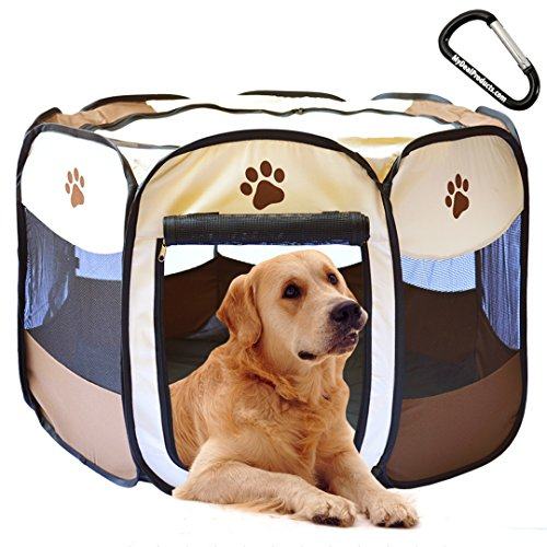 MyDeal Pop Up Pet Exercise Play Pen Portable Kennel with Weather Resistant Oxford Material, 8 Windows and Removeable Zipper Top for Puppies, Dogs, Kittens, Cats, Rabbits and more! Includes Carabiner.