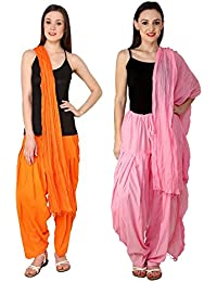 Mango People Products Patiala Salwars And Dupatta Set Combo(Free Size,Orange & Pastel Pink By Mango People Products)