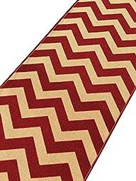 Custom Size Red Chevron Zig Zag Rubber Backed Non-Slip Hallway Stair Runner Rug Carpet 31 inch Wide Choose Your Length 31in X 10ft