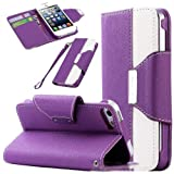 """myLife (TM) Lavender Purple and White Fashion Design - Textured Koskin Faux Leather (Card and ID Holder + Magnetic Detachable Closing) Slim Wallet for iPhone 5/5S (5G) 5th Generation iTouch Smartphone by Apple (External Rugged Synthetic Leather With Magnetic Clip + Internal Secure Snap In Hard Rubberized Bumper Holder + Lifetime Warranty + Sealed Inside myLife Authorized Packaging) """"ADDITIONAL DETAILS: This lightweight iPhone 5 and 5S wallet is made of durable and high quality synthetic leather. The leather itself is textured to prevent the wallet from slipping out of your hand while being handled. This wallet comes with a magnetic clasp."""""""