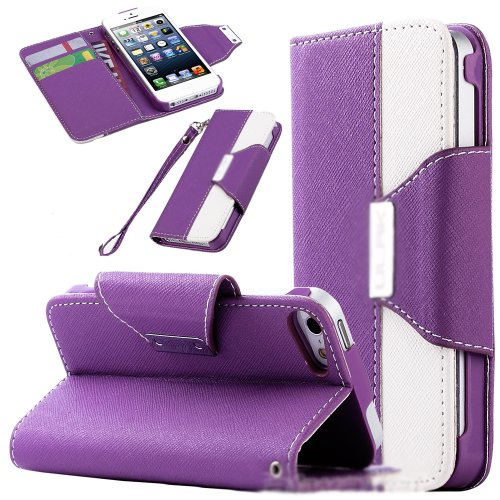 Mylife (Tm) Lavender Purple And White Fashion Design - Textured Koskin Faux Leather (Card And Id Holder + Magnetic Detachable Closing) Slim Wallet For Iphone 5/5S (5G) 5Th Generation Itouch Smartphone By Apple (External Rugged Synthetic Leather With Magne