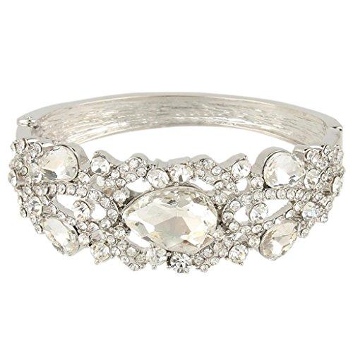 EVER-FAITH-Silver-Tone-Austrian-Crystal-Wedding-Tear-Drop-Bangle-Bracelet-Clear