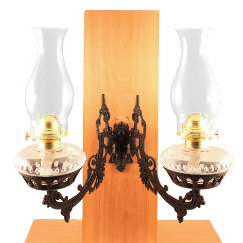 Dual Oil Lamp - Clear W/Cast Iron Bracket - Victorian Hurricane Lamps