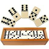 Premium Set of 28 Double Six Dominoes with Wood Case, Brown