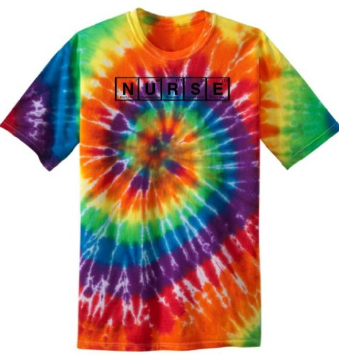 Nurse Spelled With Periodic Table Elements Tie Dye T-Shirt Medium Rainbow Tie Dye