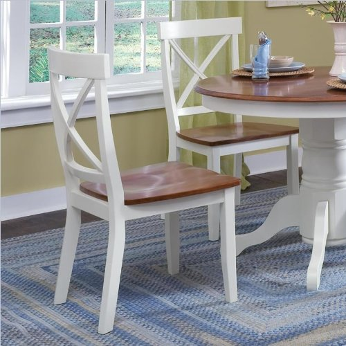 Home Styles Wood Dining Side Chair in White and Cottage Oak Finish (Set of 2)