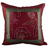 RAVRAUN Brasso 5 Piece Cushion Cover Set - Maroon And Green, 16X16 Cms