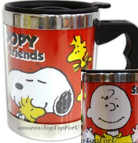 Peanuts Snoopy & Charlie Brown Stainless Steel Thermos Insulated Coffee Tea Mug Cup 14-Ounce front-726096