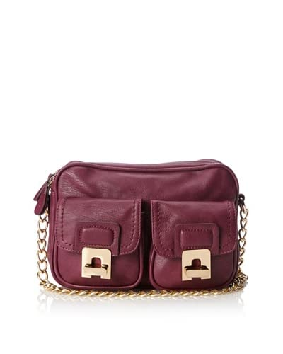 Melie Bianco Women's Sonia Double Pocket Messenger Bag, Berry