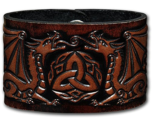 Leather Bracelet Embossed Celtic Dragons Brown with Snap Fasteners (20 Centimeters)