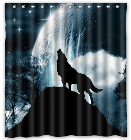 Click to buy Wolf Shower Curtain: Howling Wolf Shower Curtain from Amazon!