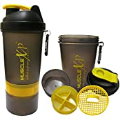 MuscleXP Smart Advanced Gym Shaker (Transparent Black & Yellow) With Strainer 500ml- Design 9
