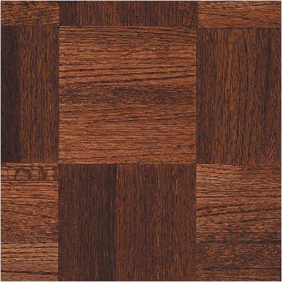 """Urethane Parquet 12"""" x 12"""" x 5/16"""" Solid Oak in Cinnabar"""