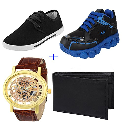 Bersache COMBO Pack Of 4 Men/Boy Multicolor (Sports Shoes,Casual Shoes,Watch & Wallet)