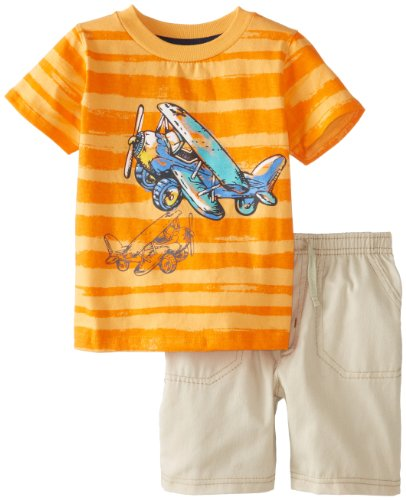 Kids Headquarters Baby-Boys Infant Crew Neck Tee With Khaki Shorts, Orange, 18 Months front-658799