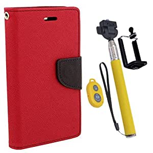 Aart Fancy Diary Card Wallet Flip Case Back Cover For Mircomax Q345 - (Red) + Remote Aux Wired Fashionable Selfie Stick Compatible for all Mobiles Phones By Aart Store