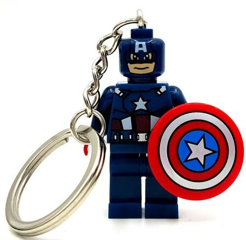 LipstickIndy® 1PIECE KEYCHAIN CAPTAIN AMERICA MINIFIGURES SUPERHEROES (Lego Marvel Key compare prices)
