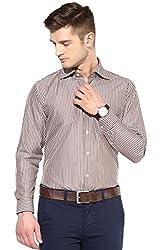 SPEAK Mens Stripes Cotton Formal Shirt (Red, Blue, Brown) (38, Brown)