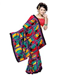 Ethnic Trend Chiffon Saree With Blouse Piece - B00OOVI8L4