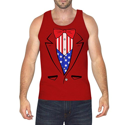 Fourth of July Early Sale! American Tuxedo USA Flag - Men's Singlet