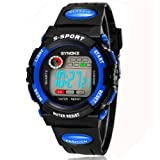 SYNOKE Unisex Kids Student Watches Fashion Sports Watches with Alarm Chronograph Long lasting battery Calendar Noctilucen Wristband Digital Watches (Blue)