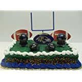 NFL Football Baltimore Ravens Birthday Cake Topper Set Featuring Ravens Helmets and Ravens Decorative Pieces