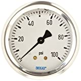 WIKA 9767215 Industrial Pressure Gauge, Liquid/Refillable, Copper Alloy Wetted Parts, 2-1/2