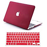 "Dealgadgets Rubberized QuickSand Surface Hard Shell Case Cover for 2014 New Macbook Air 13"" 13.3"" A1369 & A1466 with Silicone Keyboard Cover Skin Stickers Protector QuickSand Red"