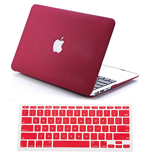 """Dealgadgets Rubberized Quicksand Surface Hard Shell Case Cover For 2014 New Macbook Air 13"""" 13.3"""" A1369 & A1466 With Silicone Keyboard Cover Skin Stickers Protector Quicksand Red front-558875"""