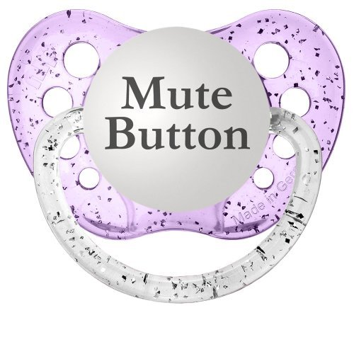 Personalized Pacifiers Mute Button Pacifier, Glitter in Purple - 1
